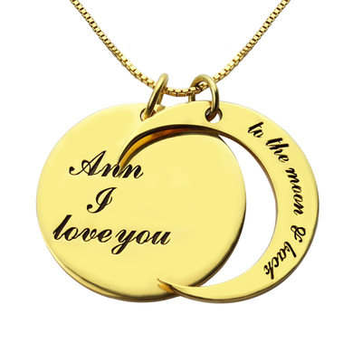 Personalized Ladies' Chic Gold Plated/Silver Plated With Round Engraved Necklaces Necklaces For Bride/For Mother/For Couple