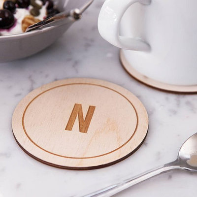 Groomsmen Gifts - Personalized Solid Color Wooden Coaster