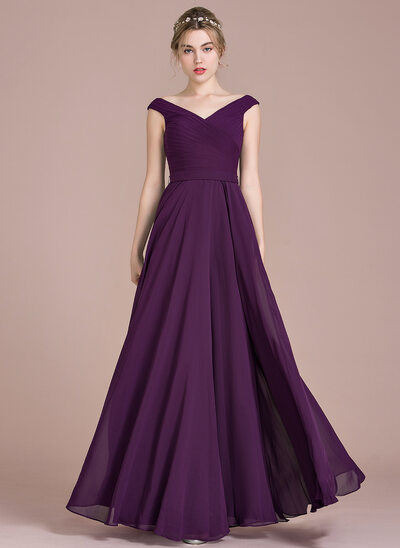 A-Line Off-the-Shoulder Floor-Length Chiffon Prom Dresses With Ruffle