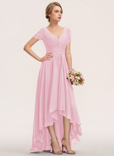 A-Line V-neck Asymmetrical Chiffon Lace Cocktail Dress With Ruffle