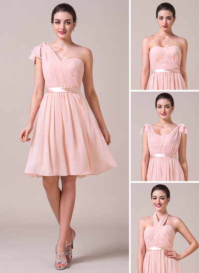 A-Line/Princess Sweetheart Knee-Length Chiffon Bridesmaid Dress With Ruffle Bow(s)