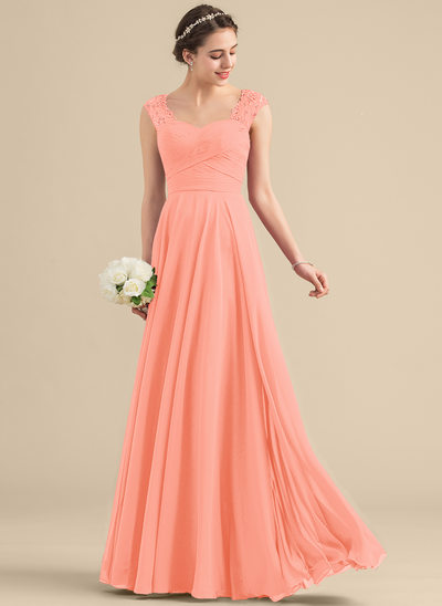 A-Line/Princess Sweetheart Floor-Length Chiffon Lace Bridesmaid Dress With Beading Sequins