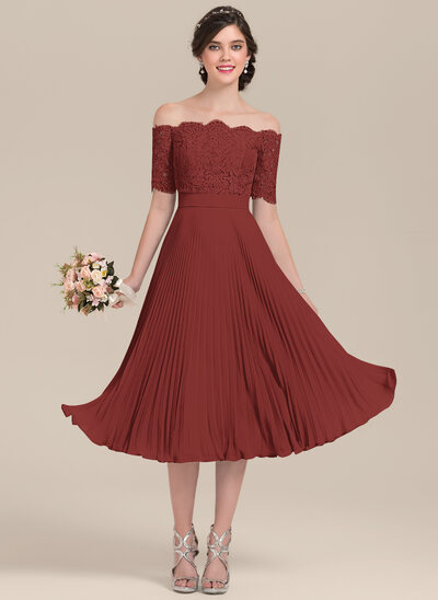 A-Line/Princess Off-the-Shoulder Tea-Length Chiffon Lace Bridesmaid Dress With Bow(s) Pleated
