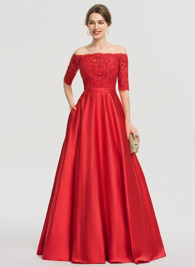Ball-Gown/Princess Off-the-Shoulder Floor-Length Satin Prom Dresses With Beading Sequins Pockets
