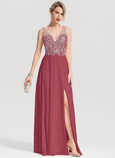 A-Line/Princess V-neck Floor-Length Chiffon Prom Dresses With Beading Split Front