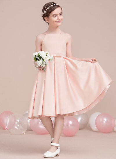 A-Line/Princess Square Neckline Knee-Length Satin Junior Bridesmaid Dress With Bow(s)