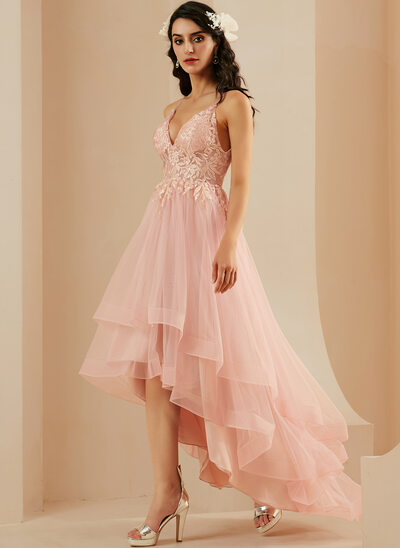 A-Line V-neck Asymmetrical Tulle Prom Dresses With Lace