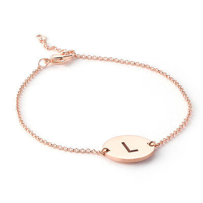 Christmas Gifts For Her - Custom 18K Rose Gold Plated Sterling Silver Delicate Chain Name Bracelets Initial Bracelets