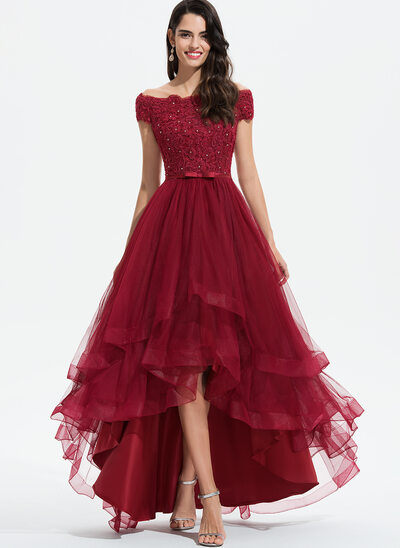 A-Line Off-the-Shoulder Asymmetrical Tulle Bridesmaid Dress With Beading Sequins Bow(s)