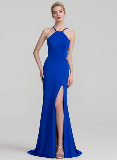 Sheath/Column Scoop Neck Sweep Train Jersey Evening Dress With Split Front
