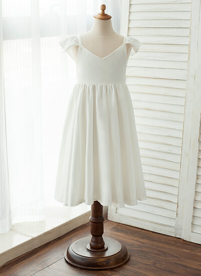 Knee-length Flower Girl Dress - Chiffon/Satin Sleeveless V-neck