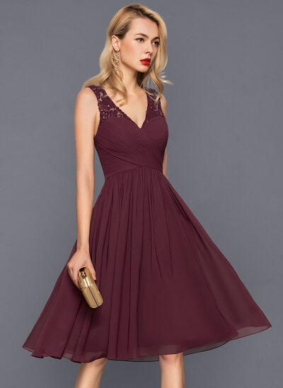 34715912225 A-Line Princess V-neck Knee-Length Chiffon Cocktail Dress With Ruffle