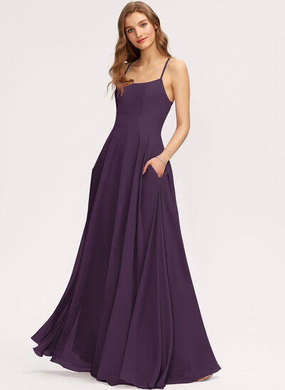 A-Line Scoop Neck Floor-Length Chiffon Evening Dress With Pockets