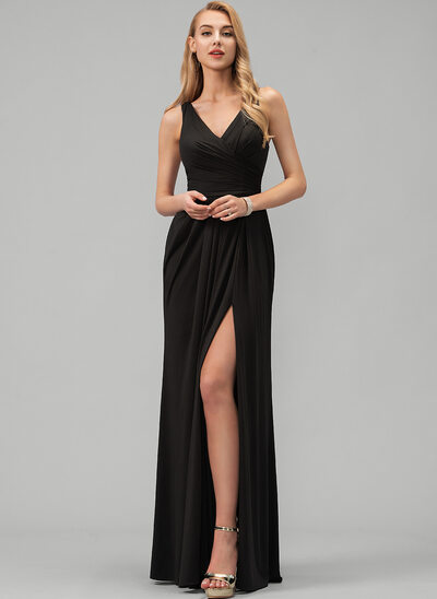 A-Line V-neck Floor-Length Jersey Prom Dresses With Ruffle Split Front