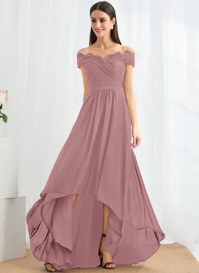 A-Line Off-the-Shoulder Asymmetrical Cocktail Dress With Lace