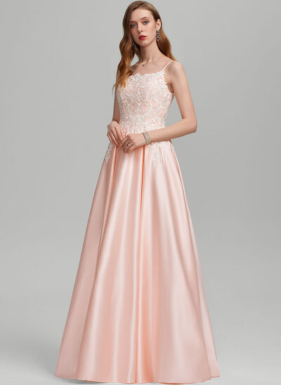 A-Line Square Neckline Floor-Length Satin Wedding Dress