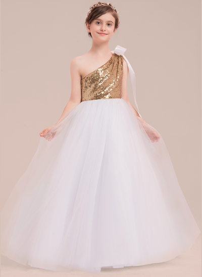 Ball Gown Floor-length Flower Girl Dress - Tulle/Sequined Sleeveless One-Shoulder With Bow(s)