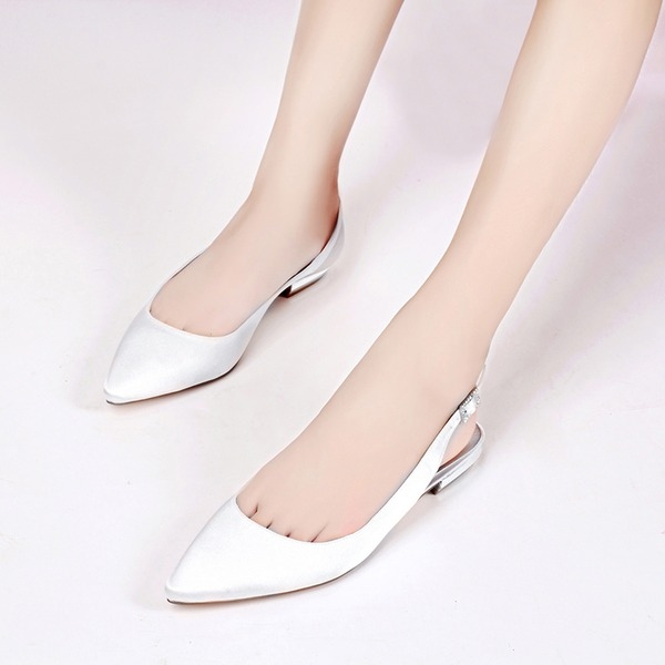 Women's Silk Like Satin Low Heel Closed Toe Flats Sandals Slingbacks With Buckle