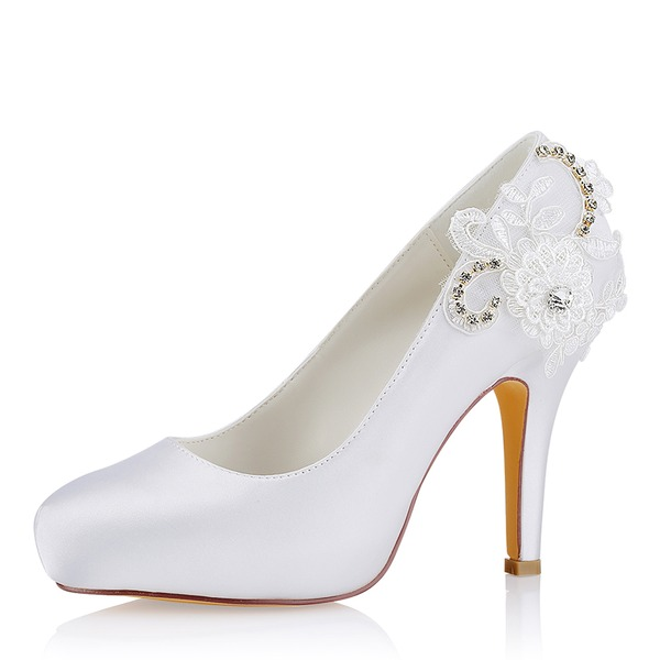 Women's Silk Like Satin Stiletto Heel Closed Toe Pumps Sandals With Stitching Lace