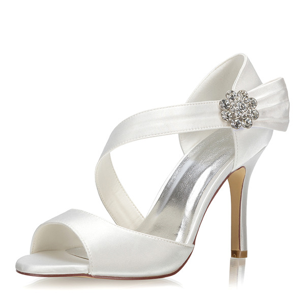 Women's Fabric Stiletto Heel Peep Toe Pumps With Jewelry Heel Crystal Velcro