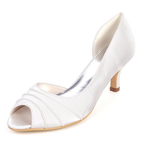 Women's Silk Like Satin Stiletto Heel Peep Toe Pumps With Ruffles