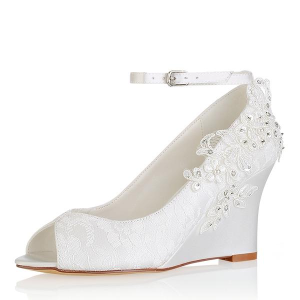Kvinnor siden som satin Kilklack Öppen tå Pumps Sandaler med Stitching Lace