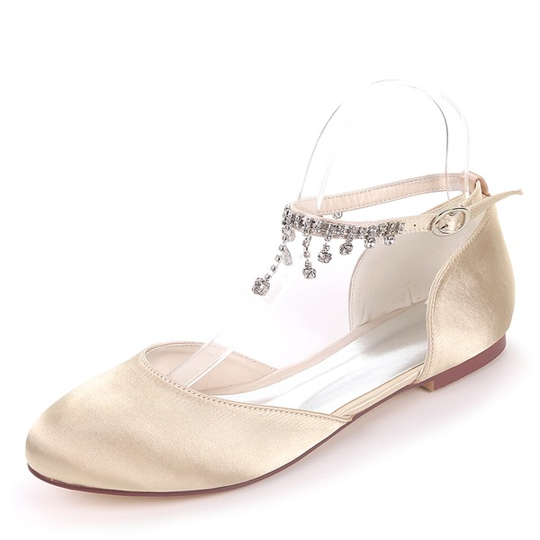 Women's Silk Like Satin Flat Heel Flats With Buckle Rhinestone
