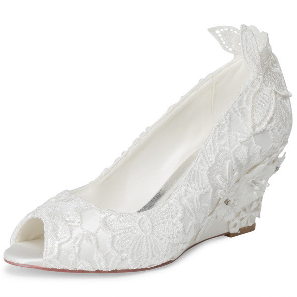 Women's Cloth Lace Wedge Heel Peep Toe Wedges With Applique
