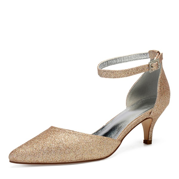 Women's Sparkling Glitter Kitten Heel Pumps