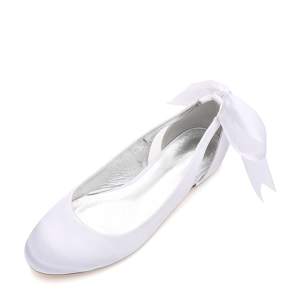 Women's Silk Like Satin Flat Heel Closed Toe Flats With Bowknot