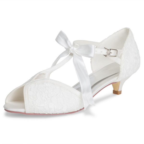 Women's Cloth Lace Low Heel Closed Toe With Bowknot