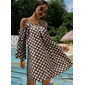 PolkaDot Shift Cold Shoulder 3/4 Sleeves Midi Casual Tunic Dresses