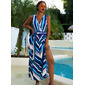 Striped Backless A-line V-Neck Sleeveless Maxi Party Sexy Skater Wrap Dresses