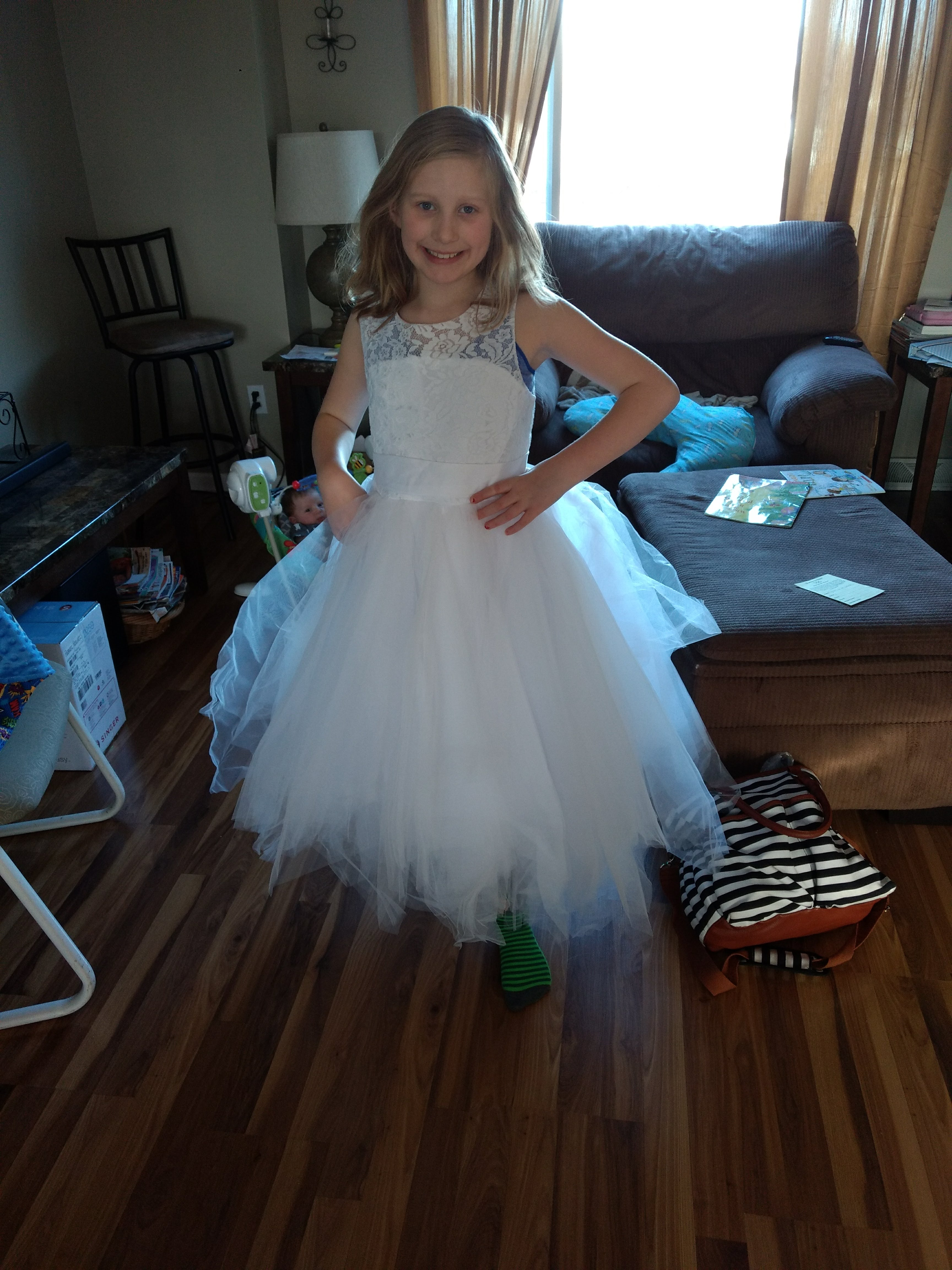 A-Line/Princess Tea-length Flower Girl Dress - Tulle/Lace Sleeveless ...