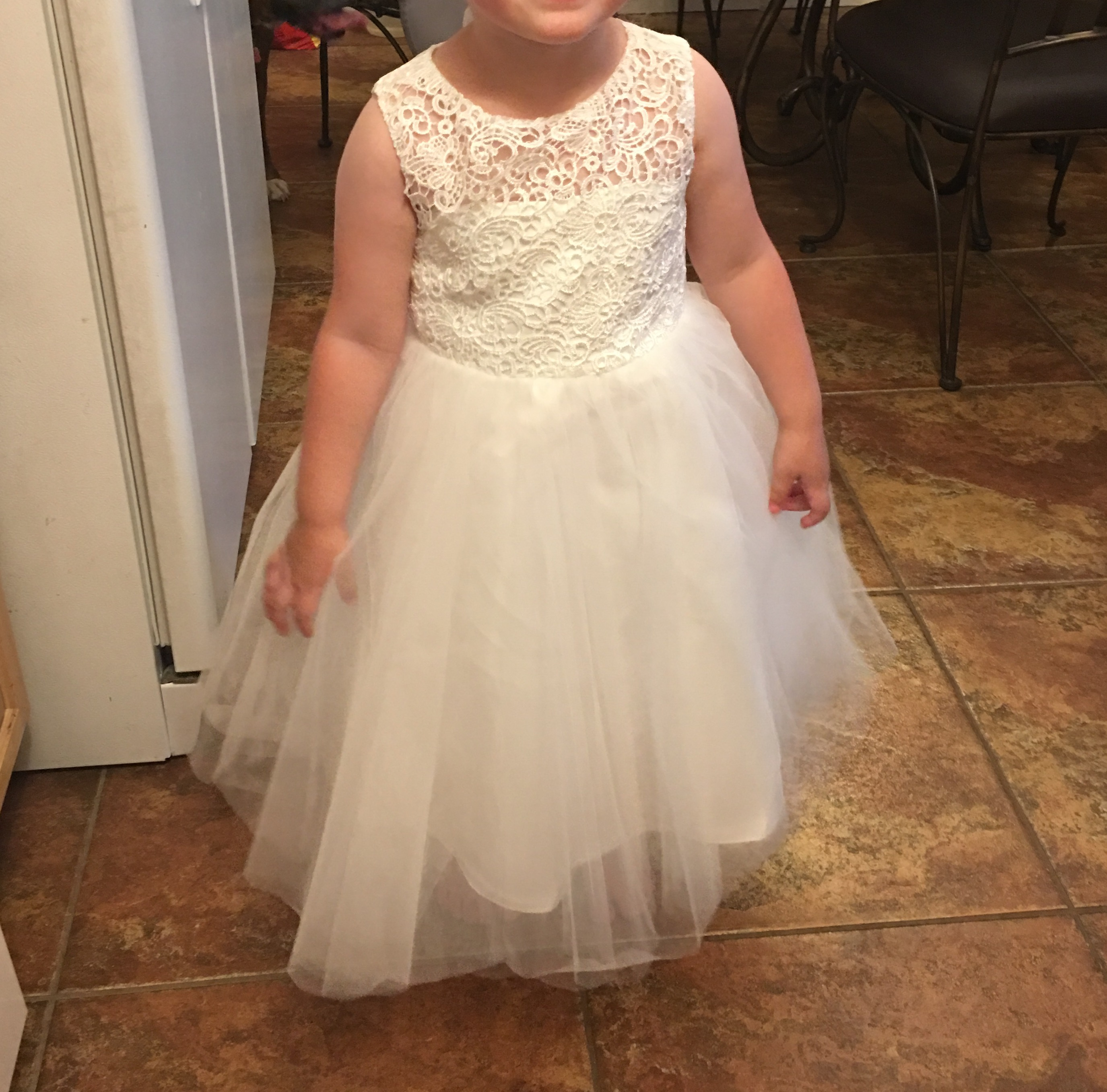 A Line Princess Knee Length Flower Girl Dress Tulle Lace