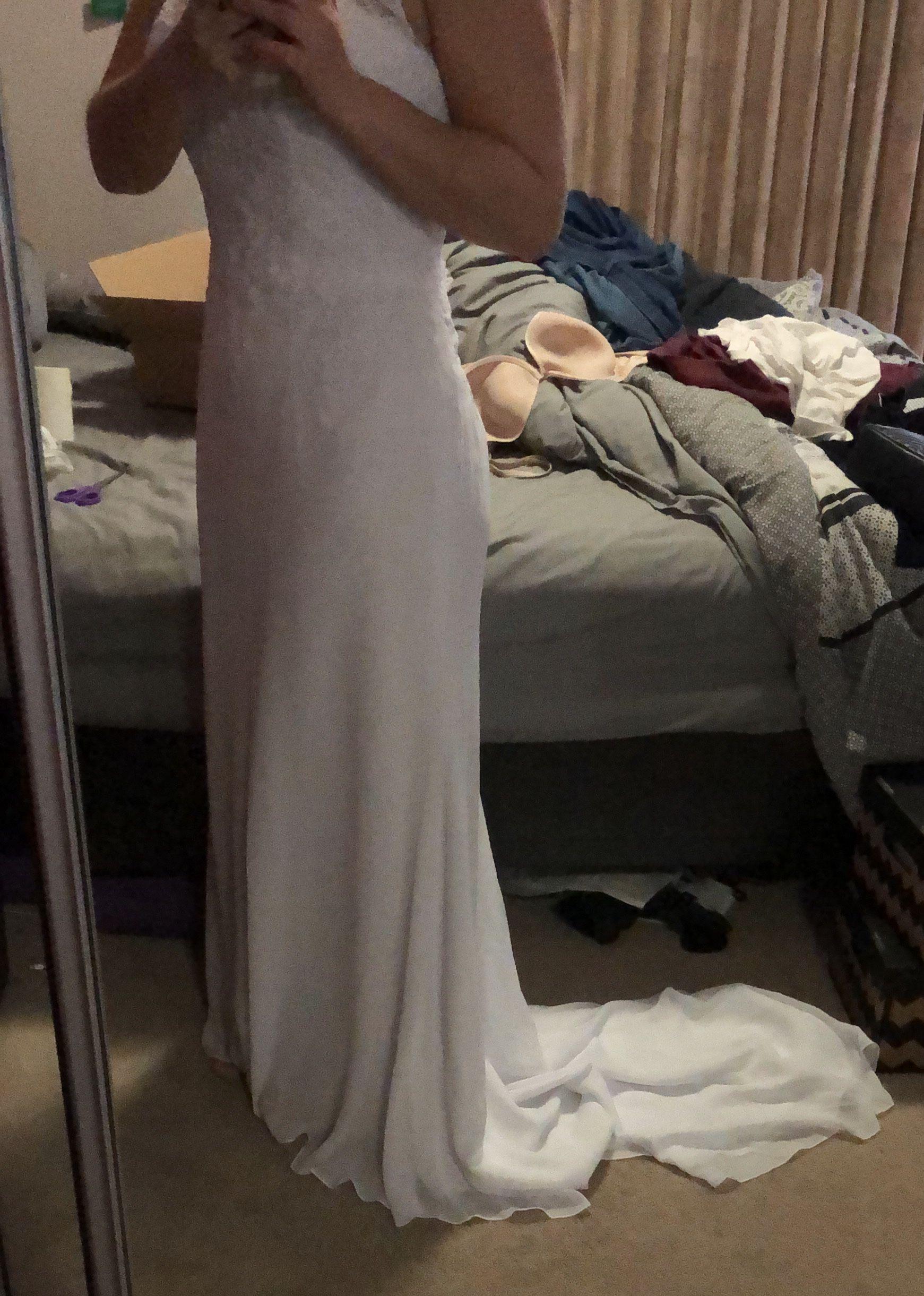 Forme Sirène/Trompette Col V Traîne moyenne Mousseline Robe de mariée (002127267)