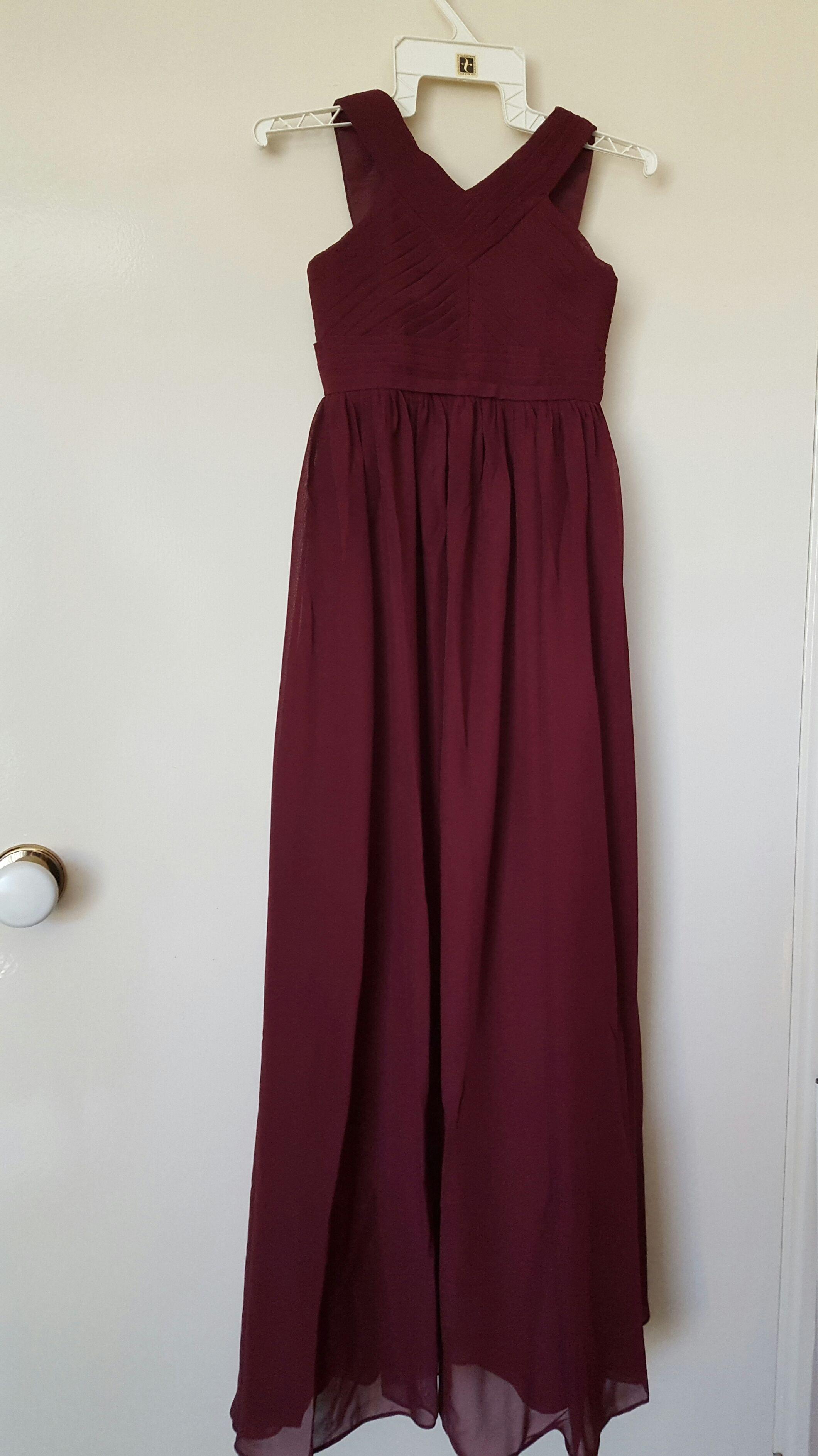 A-Linie V-Ausschnitt Bodenlang Chiffon Kleider für junge Brautjungfern mit Rüschen (009165011)