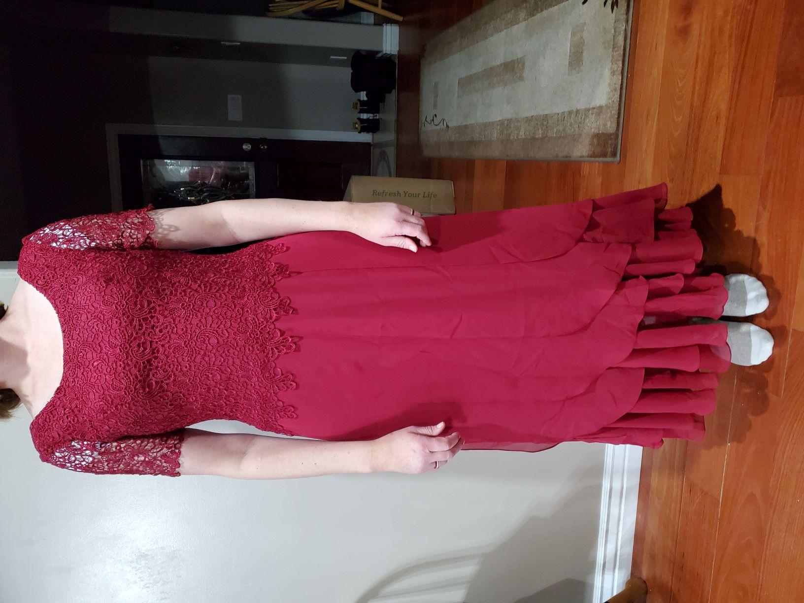 A-Linie U-Ausschnitt Knöchellang Chiffon Spitze Kleid für die Brautmutter mit Gestufte Rüschen (008204898)