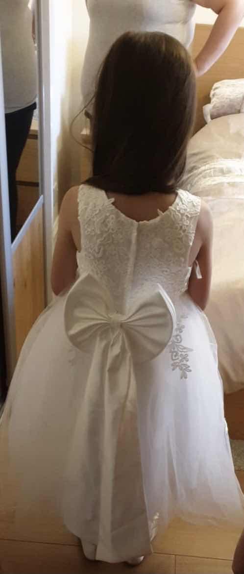 A-Line Tea-length Flower Girl Dress - Satin/Tulle Sleeveless Scoop Neck With Bow(s) (010094047)