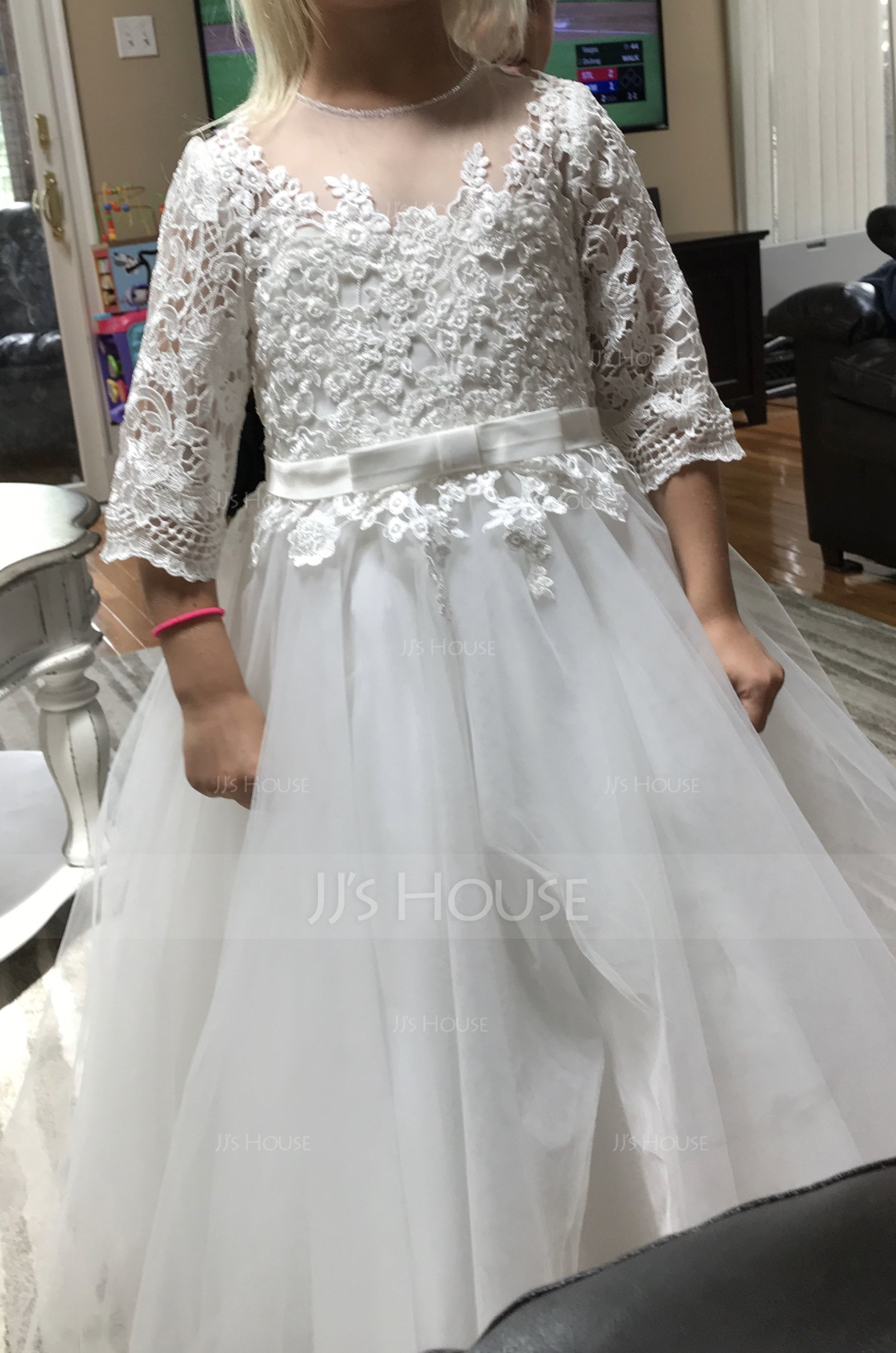 A-Line/Princess Tea-length Flower Girl Dress - Tulle/Lace 3/4 Sleeves Scoop Neck With Bow(s) (010169227)