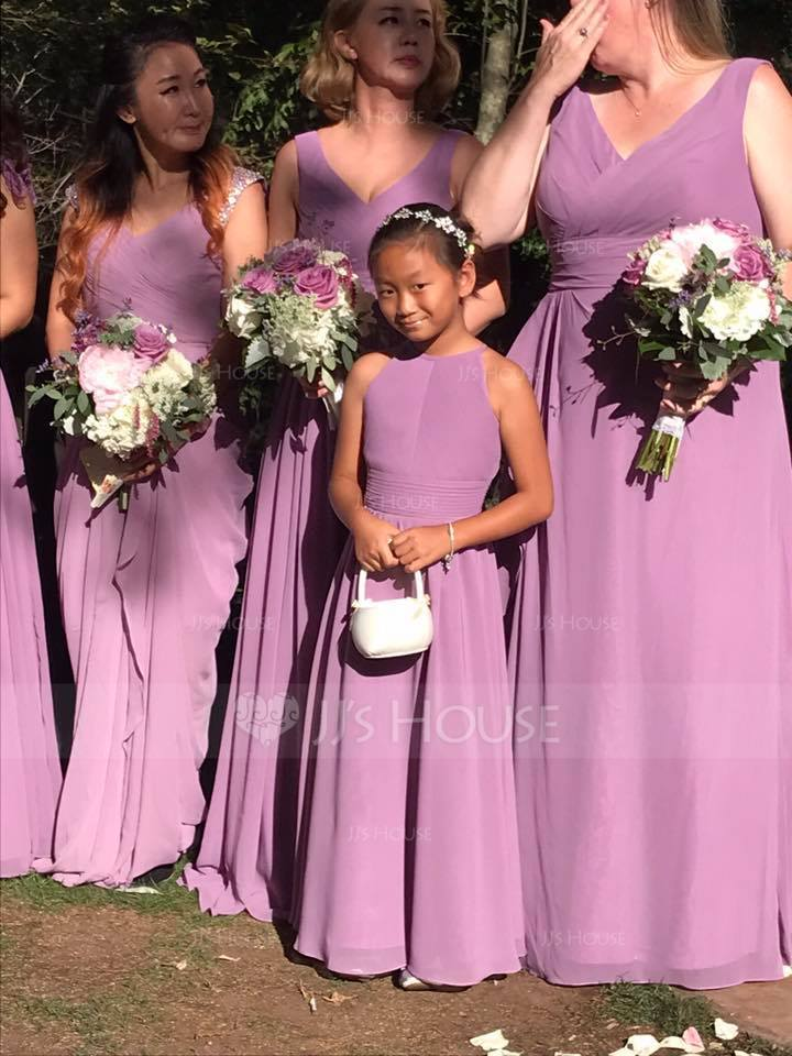 A-Linie U-Ausschnitt Bodenlang Chiffon Kleider für junge Brautjungfern mit Rüschen (009130511)
