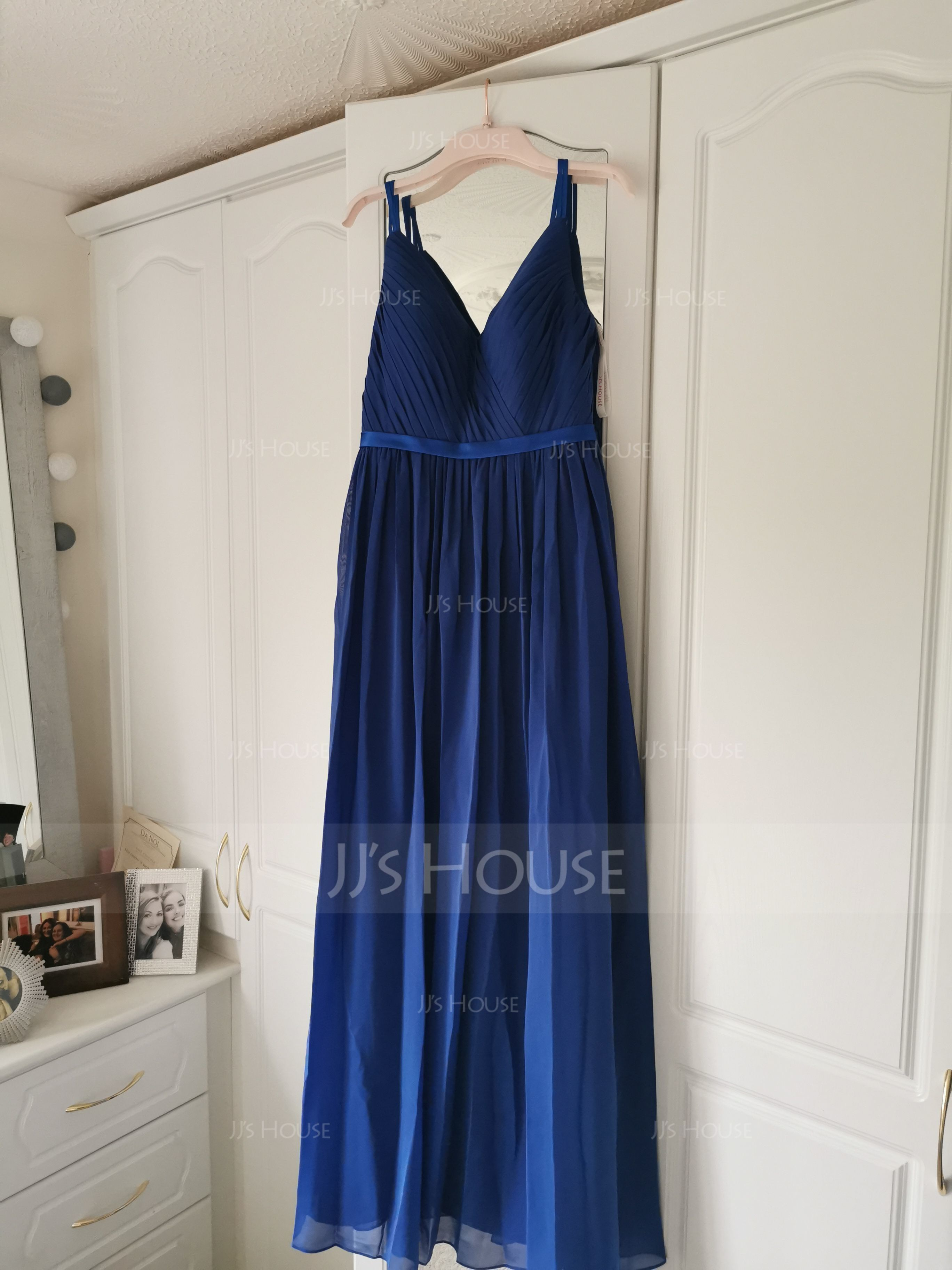 A-Line/Princess V-neck Floor-Length Chiffon Bridesmaid Dress With Ruffle (007090149)