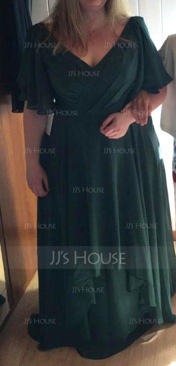 A-Line/Princess V-neck Floor-Length Chiffon Bridesmaid Dress With Cascading Ruffles (007059447)