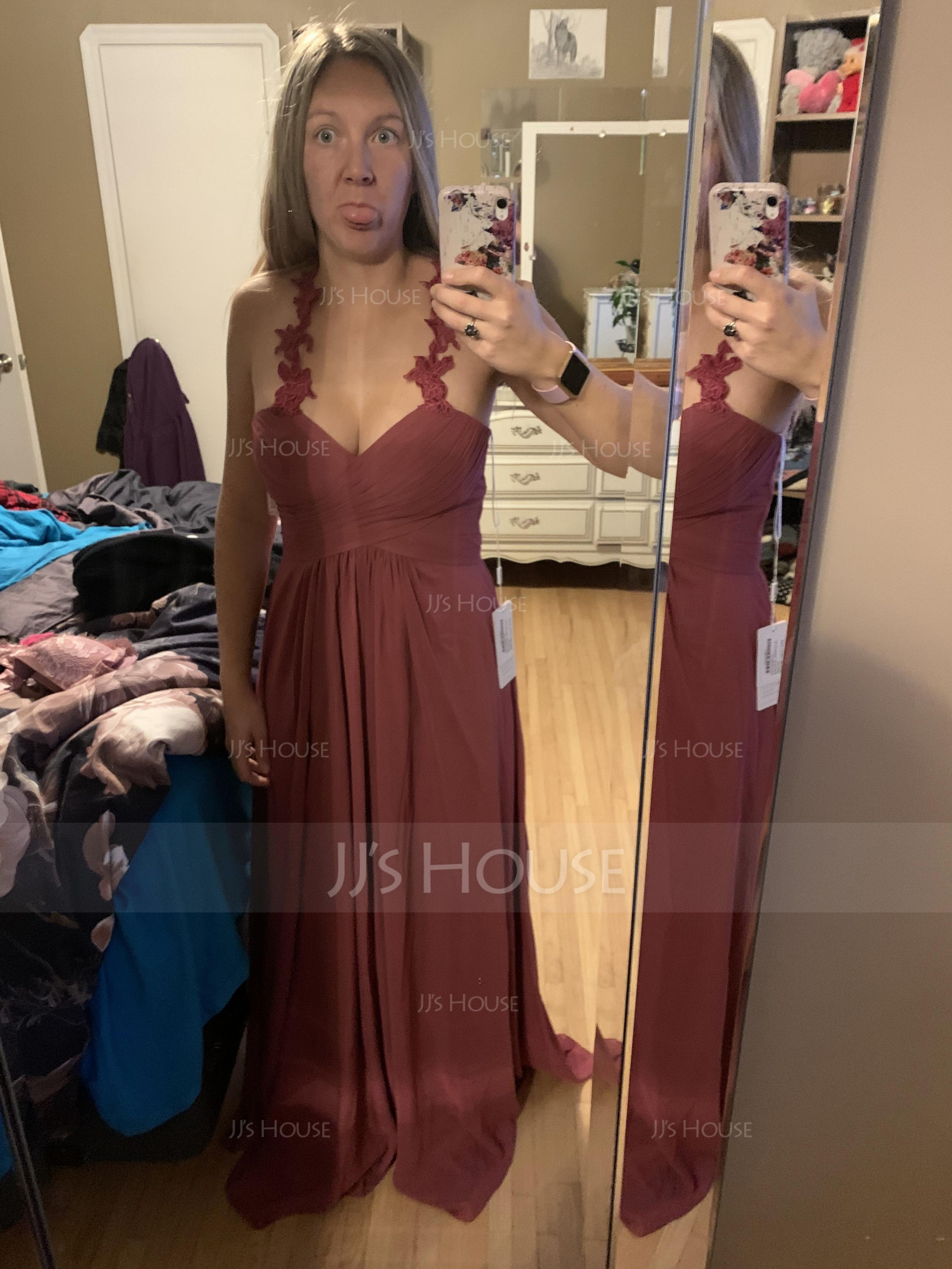 A-Line/Princess Sweetheart Floor-Length Chiffon Bridesmaid Dress With Ruffle (007090153)