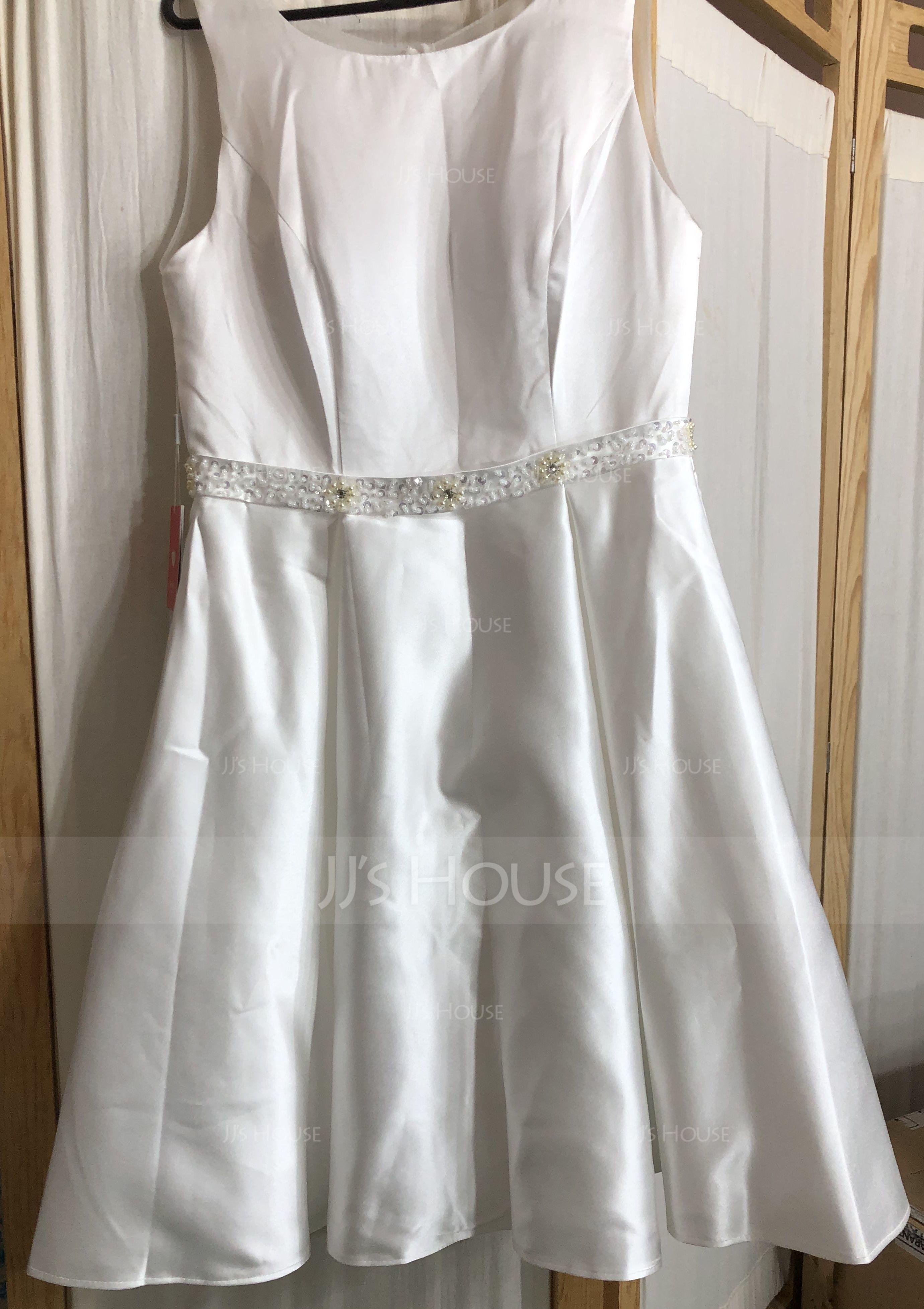 A-Line/Princess Scoop Neck Knee-Length Satin Wedding Dress With Beading Sequins (002052770)