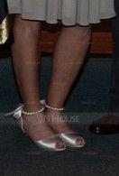 Dla kobiet Satin Cienki Kieliszkowy Obcas Peep Toe Sandały Z Imitacja Pereł Sznurowanie (047066036)