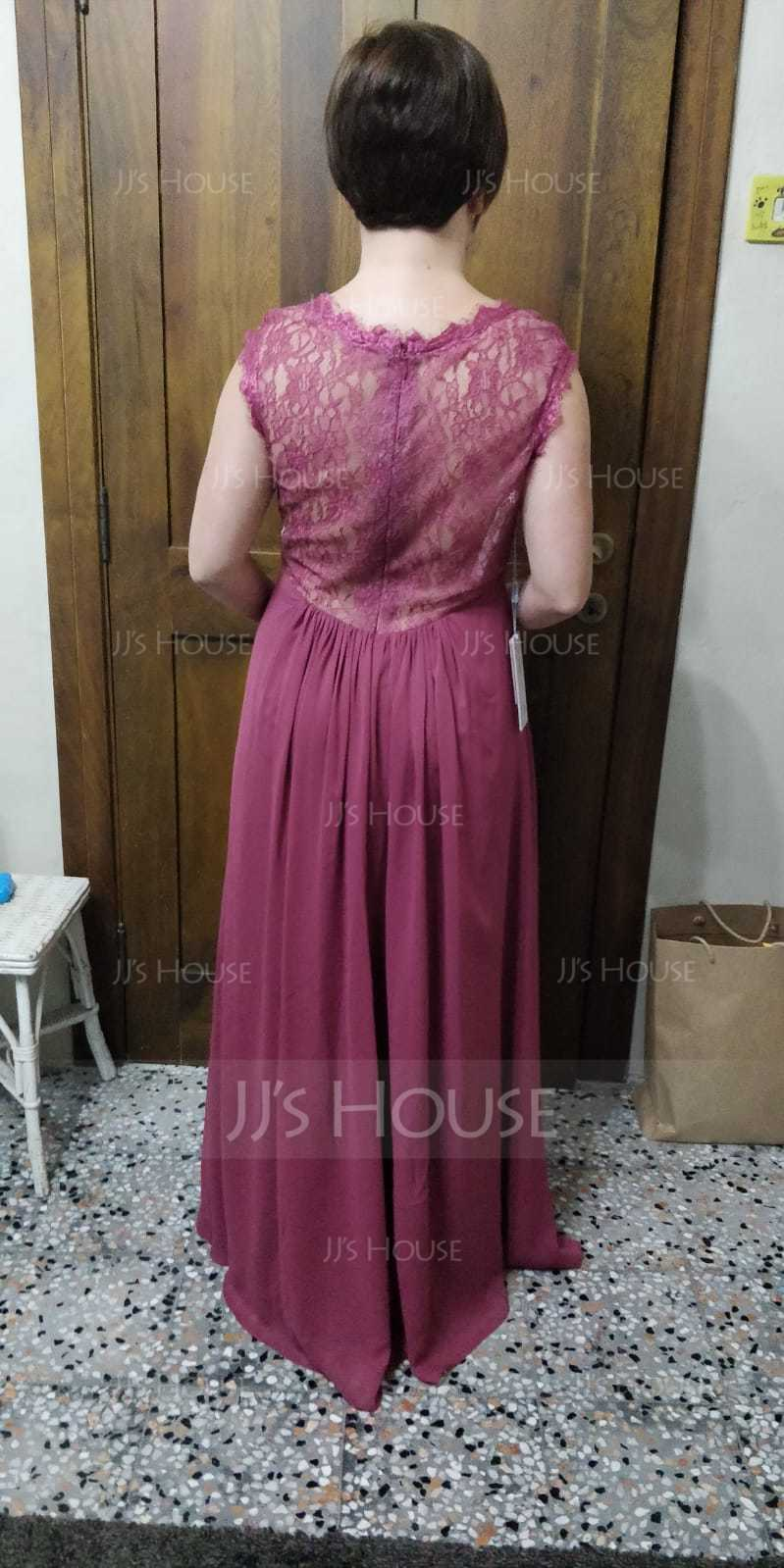 A-Line/Princess V-neck Floor-Length Chiffon Lace Bridesmaid Dress (007065568)