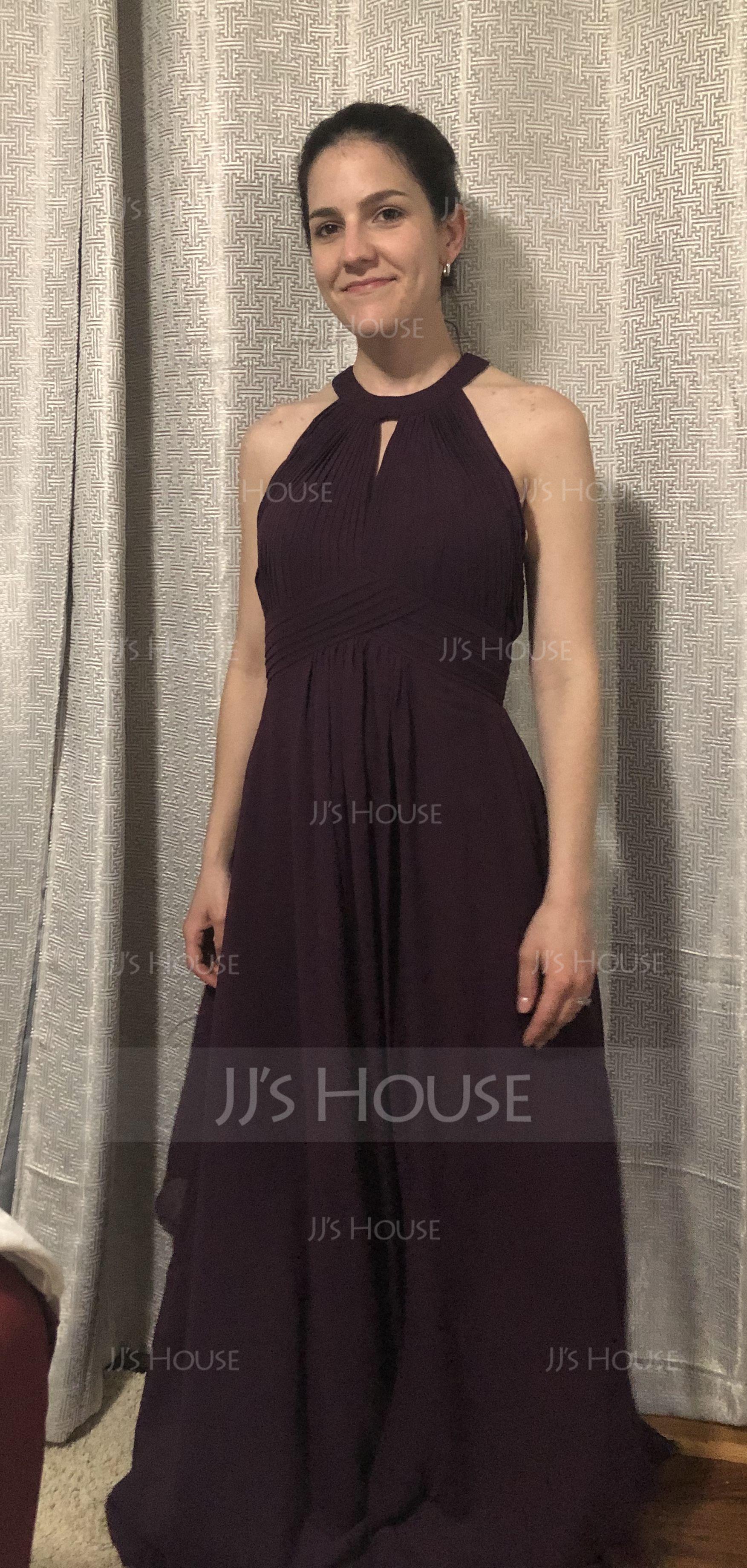 A-Line Scoop Neck Floor-Length Chiffon Bridesmaid Dress With Ruffle (007176779)