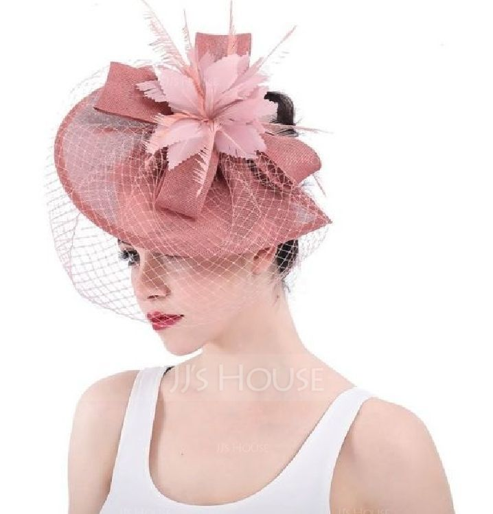 Ladies' Exquisite/Eye-catching/Romantic Cambric With Feather/Tulle Fascinators/Kentucky Derby Hats/Tea Party Hats (196169642)