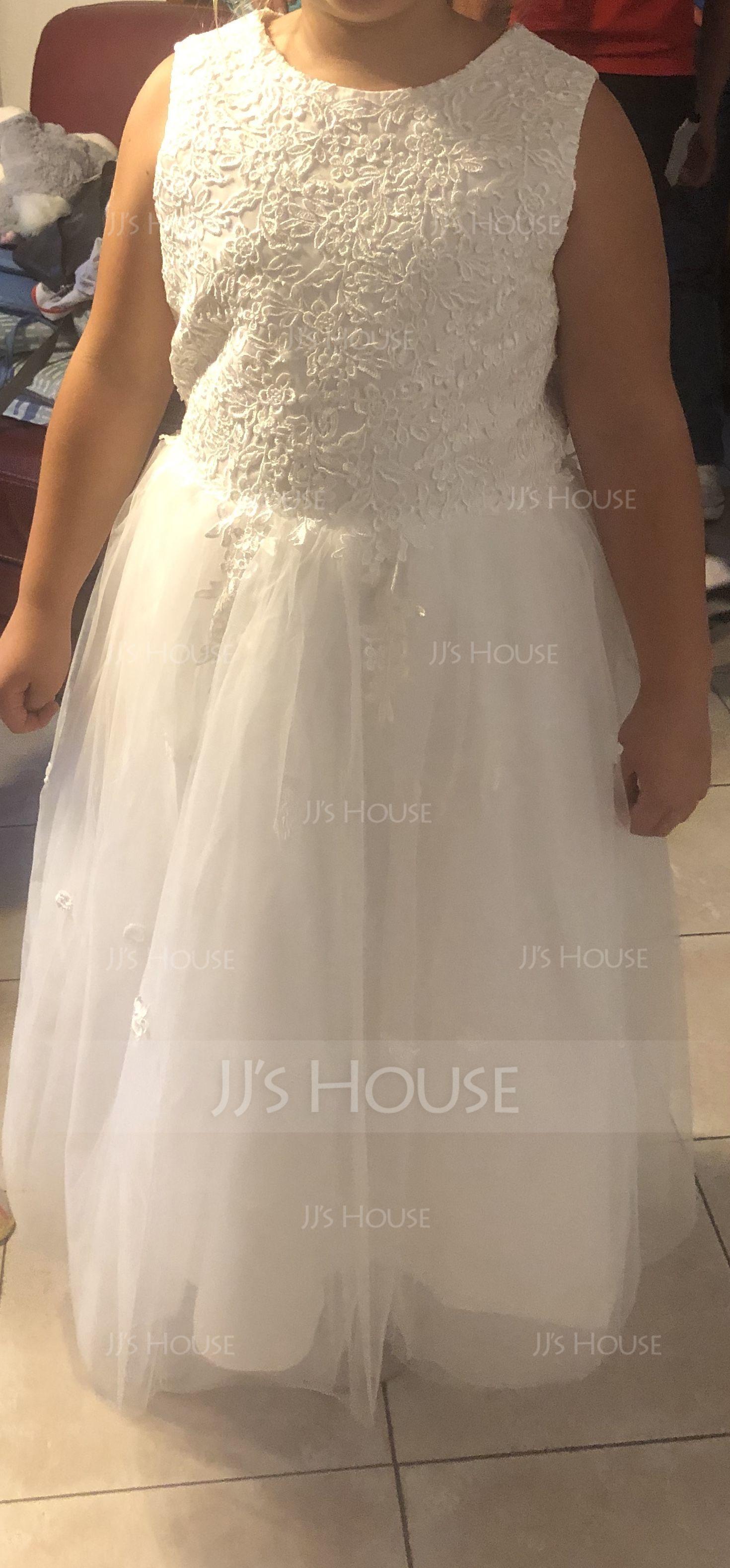 Tea-length Flower Girl Dress - Satin Tulle Sleeveless Scoop Neck (269213901)